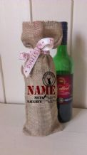 Personalized Naughty or Nice Wine Father Christmas Xmas Santa Sack / Stocking Bag Jute Hessian